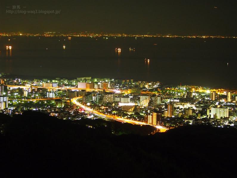 栂尾山展望台から阪神高速の夜景を撮影