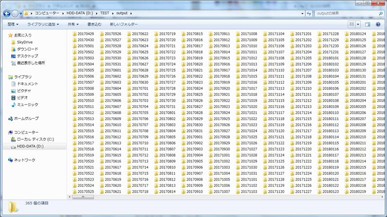 日付ごとに作成された365個のフォルダ