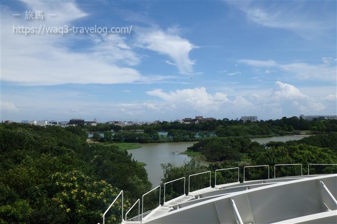 昆陽池公園の展望台からの眺め