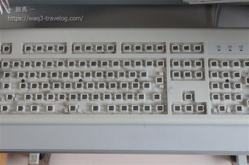 全てのキーを外した状態のキーボード