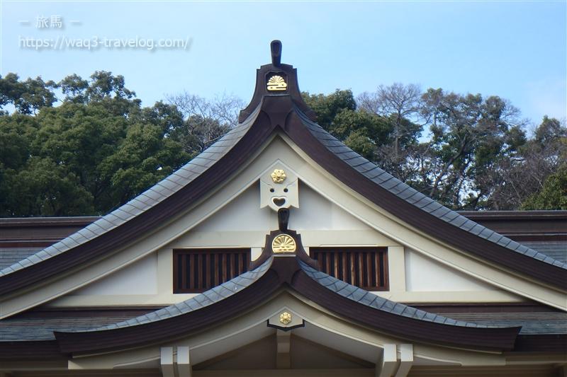 湊川神社の本殿のハートマーク