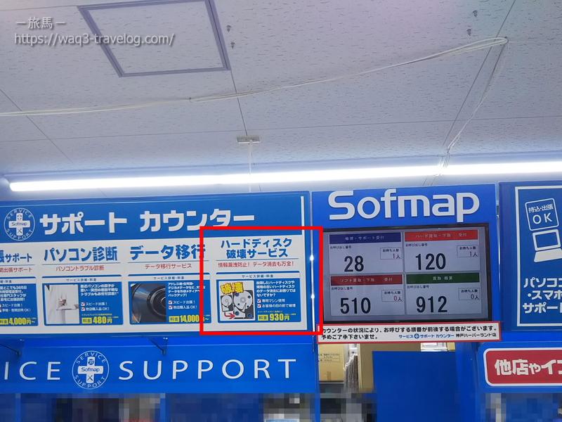 ソフマップのサポートカウンター
