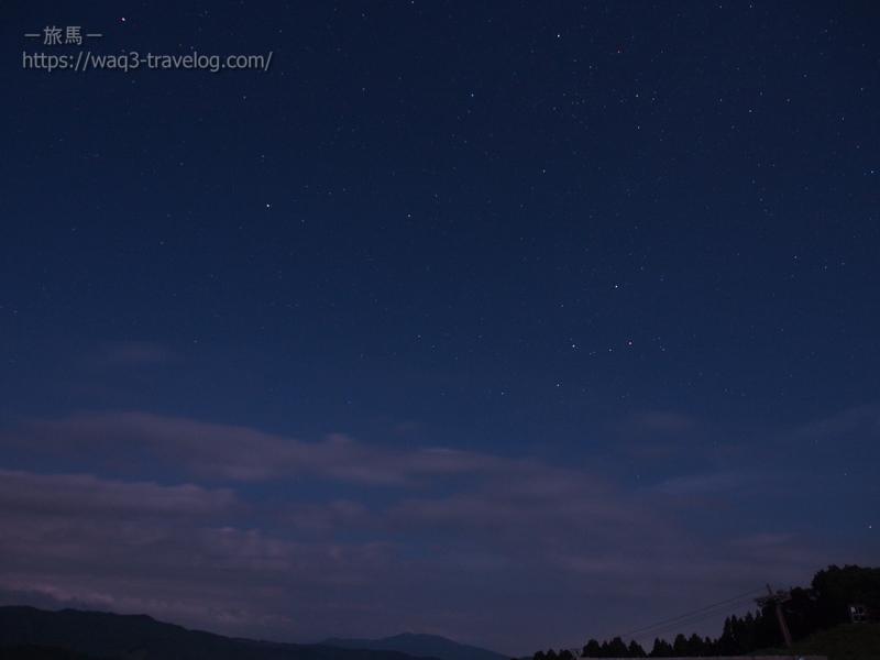 若杉高原おおやキャンプ場・星空ハイキング・カシオペア座と北極星