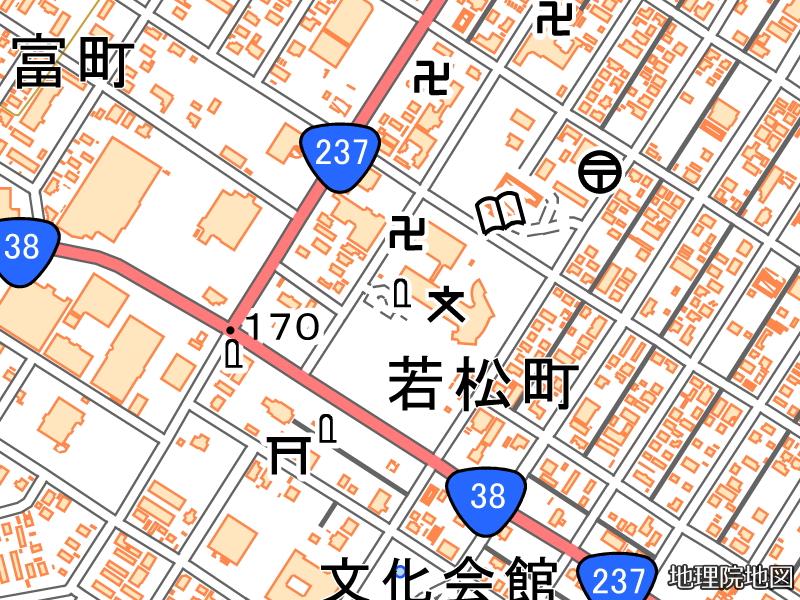 北海道中心標が掲載された国土地理院地図