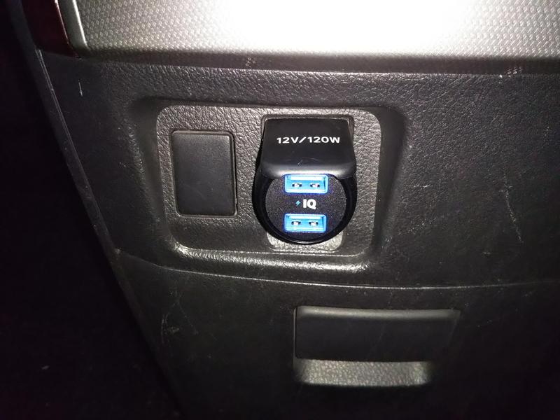 ANKER PowerDrive2 Eliteをアルファードのシガーソケットに接続したところ