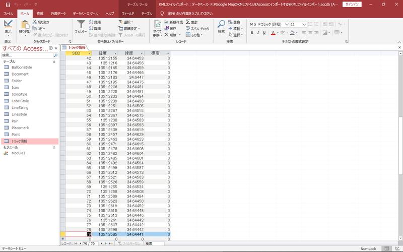 KMLファイルをインポートしたところ