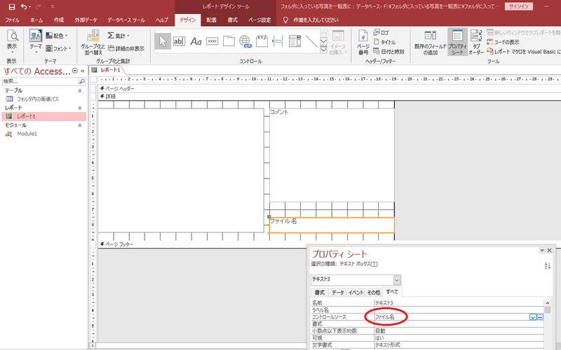 テキストボックスのコントロールソースにファイル名を設定