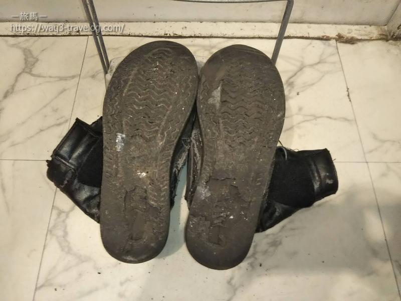 底がはがれてしまった作業靴