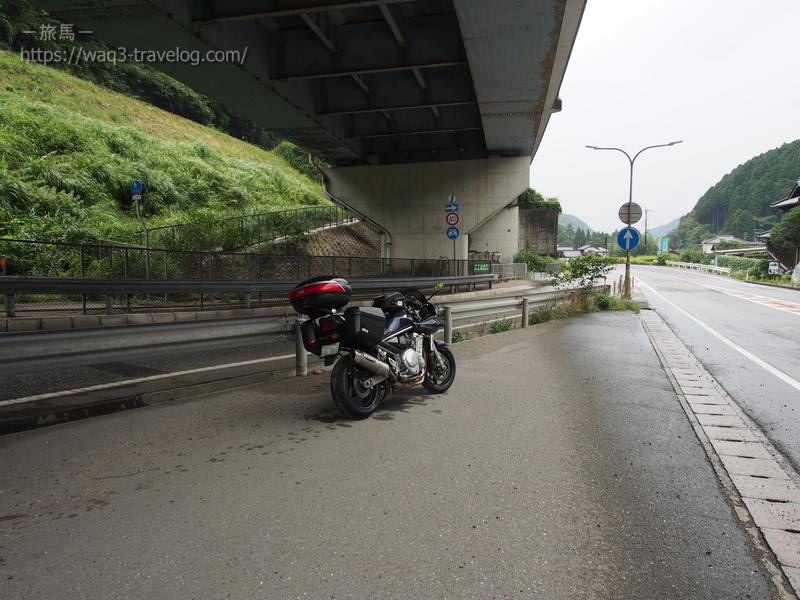 播但有料道路の下で雨宿り