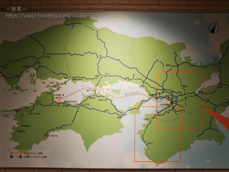 オレンジフェリーの航路図