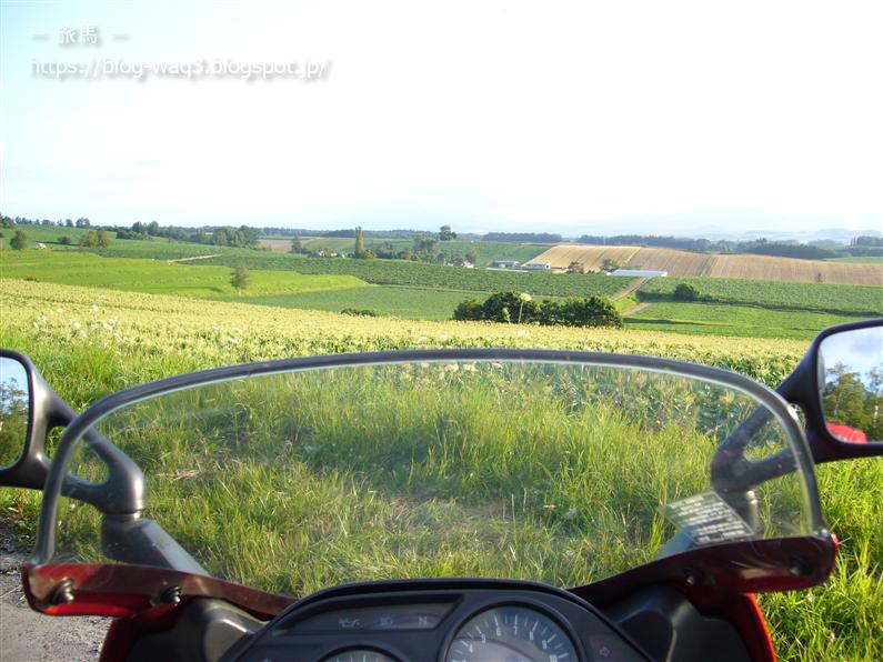 GPZ1100のスクリーン越しの美瑛の風景